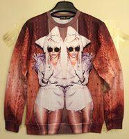 Free shipping New 2014 Autumn Winter fashion Men/Women's 3d Sweatshirts funny print double women gaga hoodies sweater top WT70