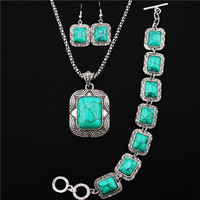 Square Flower Bead Turquoise Jewelry Sets Antique Silver Plated Necklace Bracelet Earring TS104