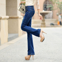 Women's plus size slim elastic bell bottom jeans casual long trousers