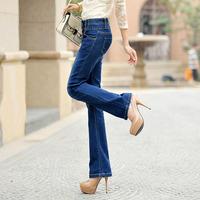 Women's plus size slim elastic bell bottom jeans casual long trousers