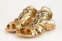 women sandals 2014 new spring summer women genuine leather shoes brand gold color woman flat ribbons sandals  size 35-41
