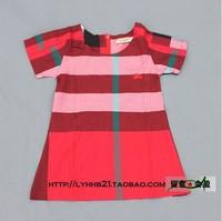 Free shipping 2014 new Spring&autumn children princess party dress kids cute plaid tutu dress girls 2 color short-sleeve dresses