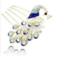 peacock  hair combs Crystal hairpin Fashion hair ornaments Pan head tire Free shipping