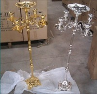 Top rated gold plated floor candelabra 85cm metal candle holder, pure gold candleholder with nice flower bowl