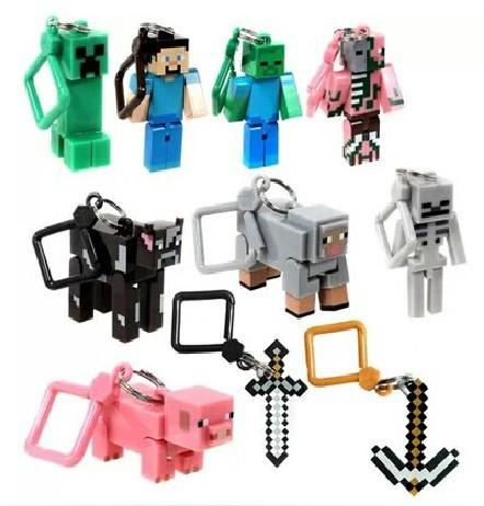 Hot sale 10pcs/lot Minecraft Hanger Creeper Action Figure,MC Toys models,Backpack Pendants Keychains 3D models(China (Mainland))