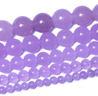 Brand New 6-12mm Light purple carnelian round shape beads charm jade loose beads for jewelry making 38cm/strand