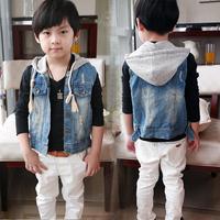 Spring&Autumn 2014 children's clothing kids hooded denim Vests & Waistcoats unisex Frayed washed denim vest jacket