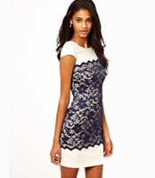 Fashion crescent moon lace patchwork back zipper short-sleeve o-neck one-piece dress