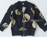 Free shipping Retail 2014 new Autumn new girls' black tipping skeleton long-sleeved locomotive coat zipper cardigan