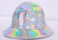Personality  silver Shiny PU bucket hat dancing hat  MOQ 2pcs