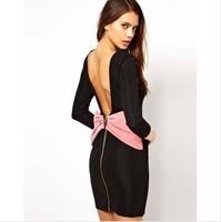 2014 new fashion autumn dress European Style Bow back backless chiffon dress Free shipping