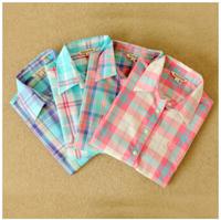 HOT 2014 winter long sleeve, collar, plaid women shirt, small and fresh, women pure cotton shirt's,S-XL,Free shipping