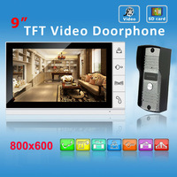 Home Security 9 inch Color Video Recording door phone Intercom System Take phone Waterproof Nigth Vision Camera