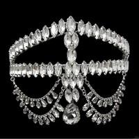 Top Quality Luxurious Teardrop Crystal Tiara Frontlet Wedding Hair Accessories Hair Jewelry Wedding Accessories