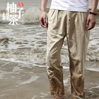 Free shipping Multicolour linen trousers casual ankle length trousers slim skinny pants male muumuu 9 fluid
