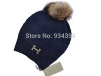2014 New Winter Cap Skullies With Real Fur Pom  Brand Designer Fashion Hats Touca de inverno Gorros Beanie Women Free Shipping
