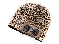 2014 New Laides Leopard Print Winter Cap Skullies Brand Designer Fashion Hats Touca de inverno Gorros Beanie Women Free Shipping