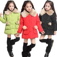 Female winter child outerwear 2014 fur collar thickening female child outerwear thick