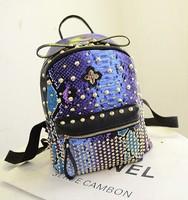 2014 Snake Pattern 3 Colors Women Rivet Punk Backpack Fashion Double-Shoulder Bag Travel Student Bag Dropship