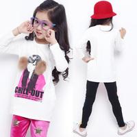Children's clothing female child t-shirt fashion stamp 2014 autumn child long-sleeve T-shirt c2