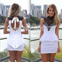 Women fashion white dress with black cute lace vestidos de fiesta