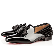 Size:39-46 Men Black Genuine Leather With Tassel & Spikes Red Bottom Oxfords,2014 Just Arrival Gentleman Square Toe Dress Shoes(China (Mainland))