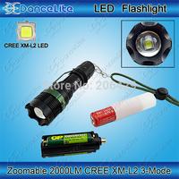 2000Lumen CREE XM-L2 Led Torch Zoom CREE Led Flashlight Lamp Light (3xAAA Case or 1x 18650 Tube)