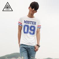 Free shipping Boys lovers male digital letter print baseball short-sleeve T-shirt HARAJUKU trend