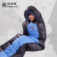 Autumn and winter thickening type outdoor sleeping bag patchwork lovers design autumn and winter thickening outdoor camping