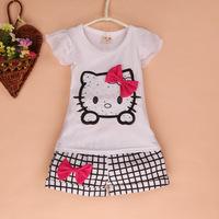 summer kids clothes sets conjunto de roupa clothing set new 2014 roupa infantil conjuntos hello kitty girls clothing sets