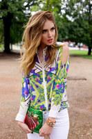 New Arrival 2014 Summer Women Colorblock off shoulrder Long Sleeve geometrical Flower Printed Shirt Blouse