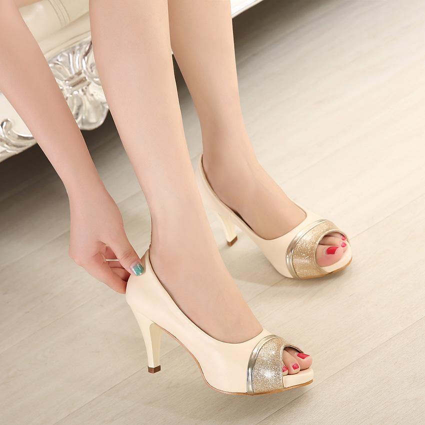 Silver Glitter Round Toe Pumps Silver Glitter Peep Toe