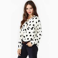 2014 Spring and summer Polka Dots long sleeve o-neck women's blouse Casual White chiffon shirt