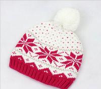 2014 Fashion snow flower winter warm pom pom Hand Made girl Knitted Crochet Knit Beard Beanie Hat Winter Essential