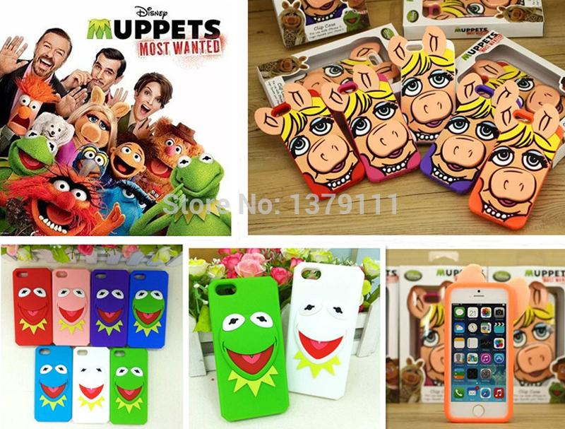 Cubierta, de dibujos animados en 3D monster Animal cerdo Muppets señorita rana suave silicona de nuevo caso para el iphone 5 5S(China (Mainland))