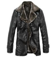 The New Men'S Winter Thick Fur Leather Coat  Haining Leather Men Long Section Large Yard Leather  Jacket Coat M-5XL XG50-154
