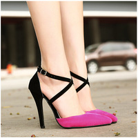 Sale 35-40 Korea New women Cross Buckle Strap High Heels shoes princess shoes Woman suede Splice Pumps Ladies Pointed Toe Shoes