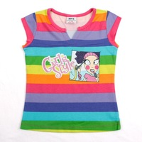 FREE SHIPPING K2363# 18m/6y  NOVA kids wear girl tops printed modern girl striped short sleeve brand fashion T-shirts for girls