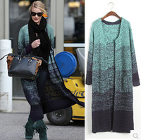 free shipping women cardigans 6097 # 2014 winter  new   thick and long sections loose cardigan sweater mix color casual coat