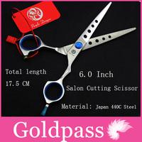 High Quality  Hair Scissors 6.0 inch Pro Haircutting Scissor blue screw shears Purple Dragon Brand with case Free Shipping