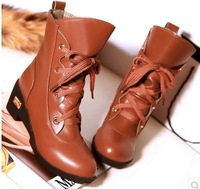 Free shipping new 2014 brand Leisure women winter autumn boots students round toe Martin boots wedges short motorcycle boots