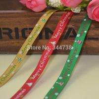 Merry Christmas Grosgrain Ribbon 100 Yard/Roll Polyester Ribbons for Gift Box