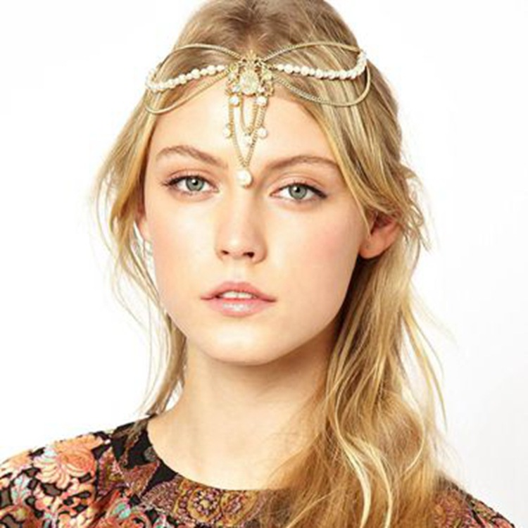 2014 new fashion Pearl tassel crown chain stretch headband hair accessories hair jewelry girls' hairband wholesale(China (Mainland))