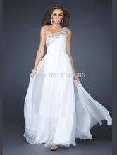 Caliente venta de un solo hombro con cuentas una línea larga Blanca gasa del hilo de araña vestidos de graduación(China (Mainland))
