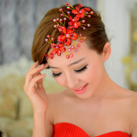 red sparkling crystal red beads bridal hair jewelry wedding hair accessory high qulity tiaras