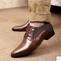 2014 trend formal leather commercial elevator wedding shoes lacing pointed toe fashion breathable male shoes