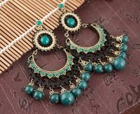 Vintage Ethnic Indian Style Big Dangle Beads Tassel Women Fashion Earrings. Wholesale Wedding Accessories Jewelry