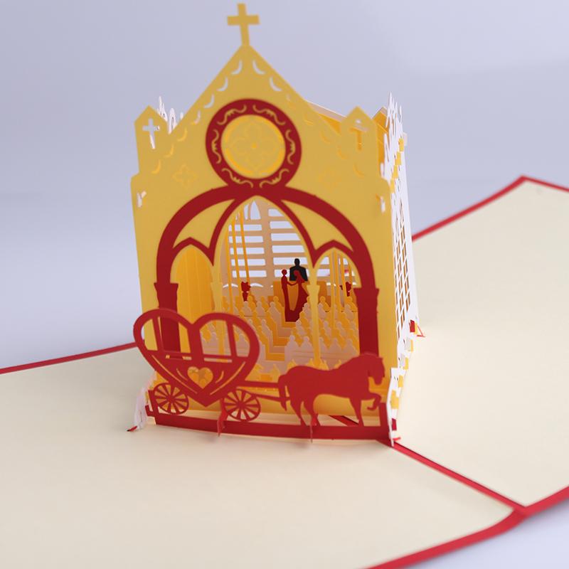 3D stereo church wedding invitations greeting card - Valentine's Day custom birthday invitation card greeting card(China (Mainland))