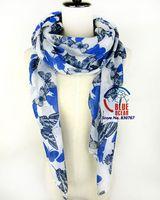 2014 New  Brand Women Blue Butterfly Patterm Long Silk Scarf Elegant Cotton Scarves Neck Wrap Stole Neckerchief 4 Colors Retail