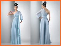 2014 Evening Dresses A Line One Shoulder Chiffon Light Blue Ruched Sash Floor Length Party Dresses Women Gown